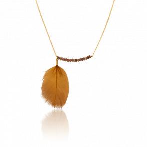 Collar Naha Chapado en Oro Amarillo & Cuarzos Ahumados