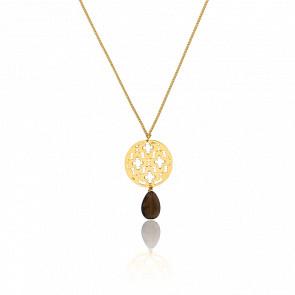 Collar Hara Stones Chapado en Oro Amarillo& Cuarzo Ahumado