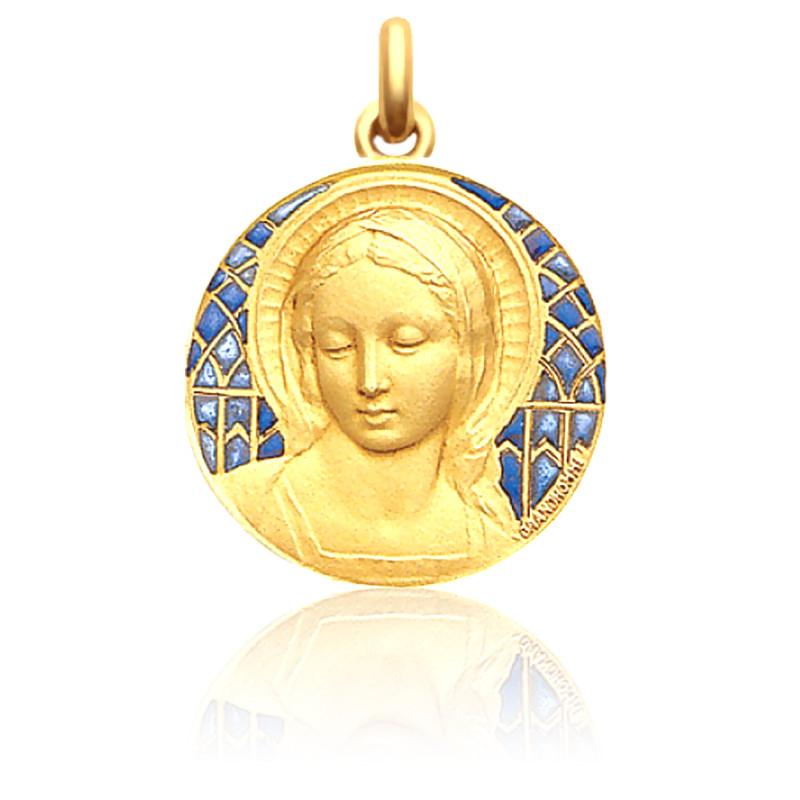 Medalla de la Virgen Amabilis Esmalte Azul y Oro Amarillo 18K