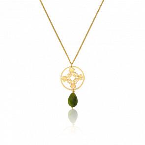 Collar Hara Stones Chapado en Oro Amarillo  & Piedra Jade