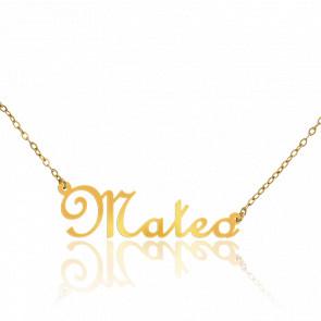 Collar Nombre Mateo Oro Amarillo 18K