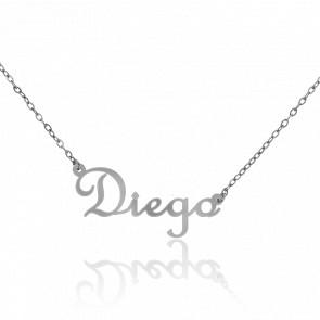 Collar Nombre Diego Oro Blanco 18K
