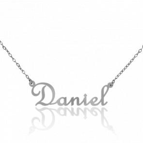 Collar Nombre Daniel Oro Blanco 18K