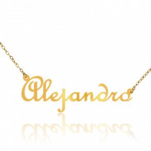 Collar Nombre Alejandro Oro Amarillo 18K