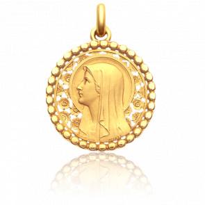 Medalla Virgen Rosas y Esferas 22 mm Oro Amarillo 18K
