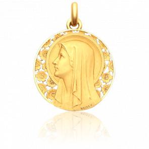 Medalla Virgen en el Rosal 28 mm Oro Amarillo 18K