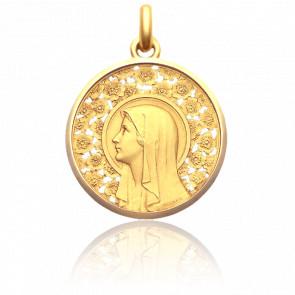 Medalla Virgen Rosal, 30 mm, Oro Amarillo 18K