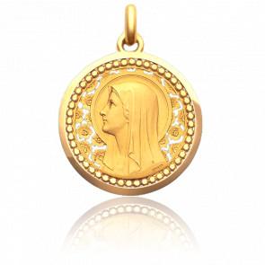 Medalla Virgen Rosas y Esferas 35 mm Oro Amarillo 18K