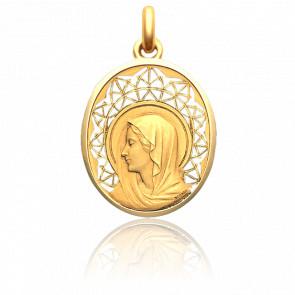 Medalla Virgen Regina, 30 mm, Oro Amarillo 18K