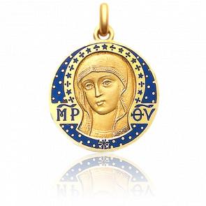 Medalla Virgen Bizantina 22 mm Esmalte Azul y Oro Amarillo 18K