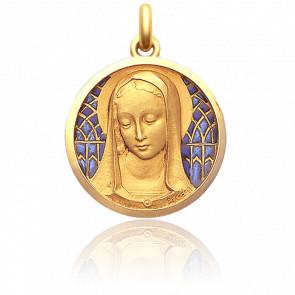 Medalla Santa Madona 25 mm Esmalte Azul y Oro Amarillo 18K