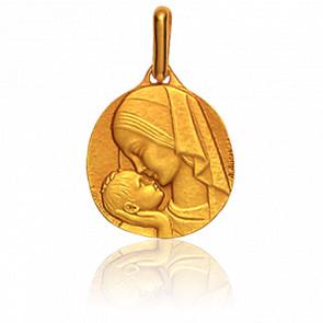 Medalla Virgen Amor Maternal Oro Amarillo 18K