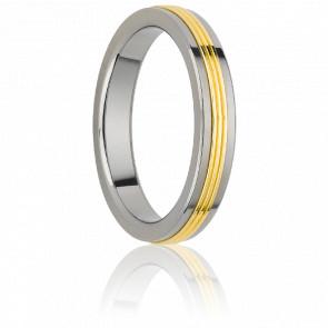 Alianza Inca 4 mm Oro Amarillo & Titanio