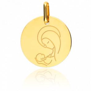 Medalla Virgen con el Niño Oro Amarillo 9K