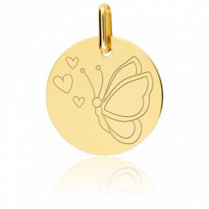 Medalla Mariposa Oro Amarillo 9K