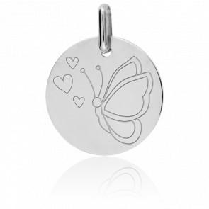 Medalla Mariposa Oro Blanco 9K