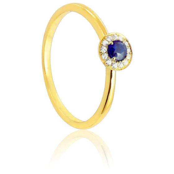 189054199f18 Anillo de oro con diamantes y zafiro - Diamond Lady - Ocarat