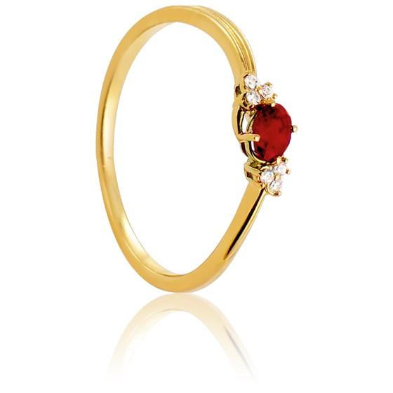 9f62fd00f007 Anillo Solitario Oro Amarillo 18k y Rubí Azada. Diamond Lady ...
