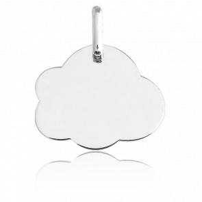 Medalla Para Grabar Nube MP Oro Blanco 18K