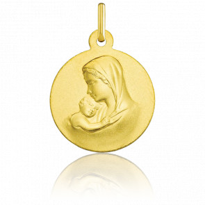 Medalla Redonda Virgen de la Maternidad Lisa Oro Amarillo