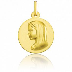 Medalla Redonda Virgen con Velo Lisa Oro Amarillo