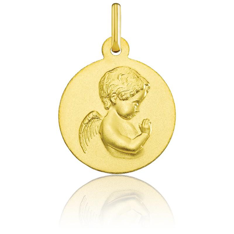 Medalla Redonda Ángel Rezando Lisa Oro Amarillo