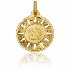 Medalla Signo del Zodiaco Piscis Oro Amarillo 18K