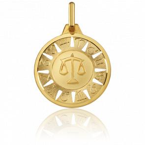 Medalla Signo del Zodiaco Libra Oro Amarillo 18K