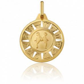Medalla Signo del Zodiaco Géminis Oro Amarillo 18K