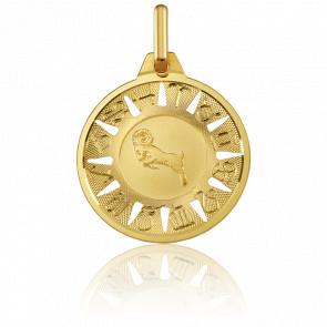 Medalla Signo del Zodiaco Aries Oro Amarillo 18K