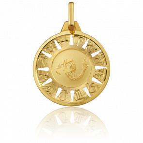Medalla Signo del Zodiaco Acuario Oro Amarillo 18K
