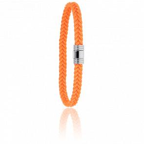 Pulsera Cordón Marinero Naranja y Acero 6 mm