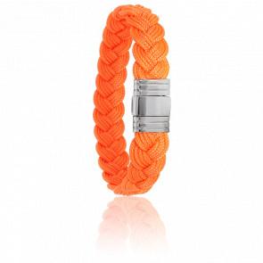 Pulsera Cordón Marinero Naranja y Acero 13mm