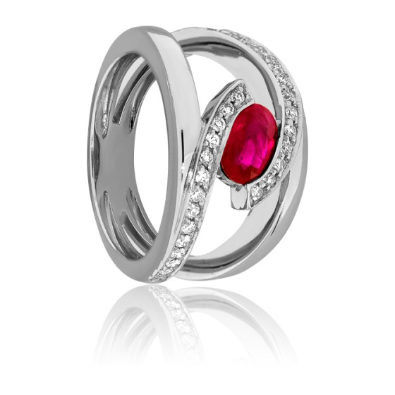 venta caliente online 9e6e4 53639 Anillo de compromiso Oro Rubí y Diamantes - Wegelin - Ocarat