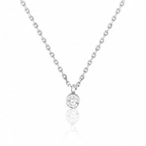 Collar Oro Blanco 18K y Diamante 0,10 ct