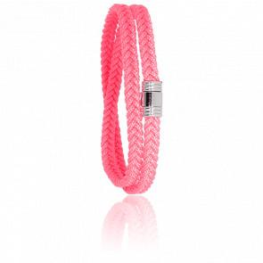 Pulsera Cordón Marinero Rosa y Acero 12 mm
