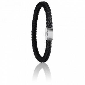Pulsera Cordón Marinero Negro y Acero 8 mm