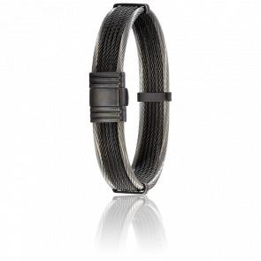 Pulsera Cables Acero Negro y Plata 13 mm
