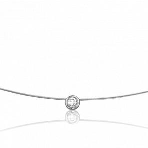 Collar Sonia 55 cm Oro Blanco 18K y Solitario 0,06 cts