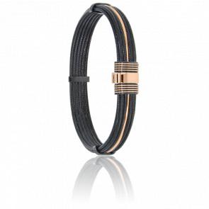 Pulsera Cable Acero Negro y Oro Rosa 18K 9 mm