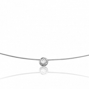 Collar Sonia 50 cm Oro Blanco 18K y Solitario 0,06 cts