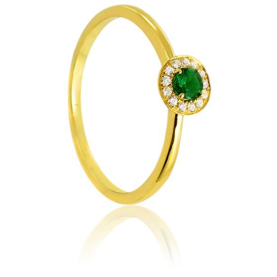 7ef52e9e67fa Anillo de compromiso oro amarillo 18K y esmeralda Alavera. Diamond Lady ...
