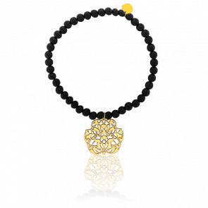 Pulsera Arabesca Oro Chapado & Perlas Volcánicas