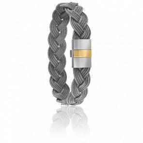 Pulsera Cable Gris, Acero y Oro Amarillo 18K 9mm