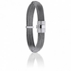 Pulsera Cable Acero Gris 9mm