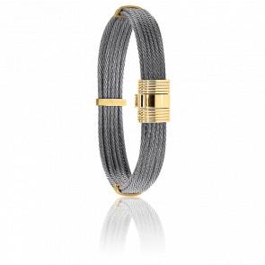 Pulsera Cable Acero Gris y Oro Amarillo 18K 9mm