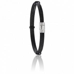 Pulsera Cable Acero Multicable Negro 6mm