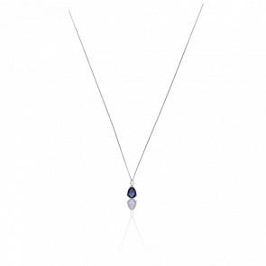 Collar Emilyna Oro Blanco 18K Diamantes & Zafiro