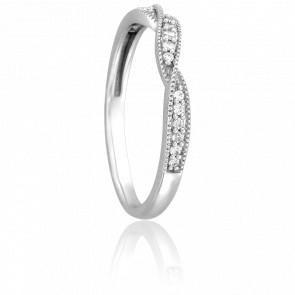 Alianza Audrey Oro Blanco 18K y Diamantes GSI
