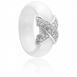 Anillo Xavelite Diamantes Cerámica Blanca